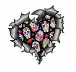 Ripped Torn Metal Heart Carbon Fibre with Sugar Skull Pattern Motif External Car Sticker 105x100mm